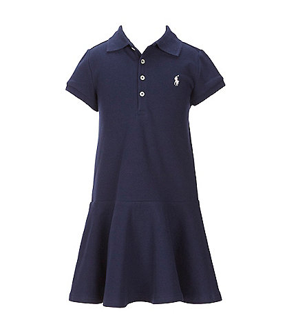 Polo Ralph Lauren Little Girls 2T-6X Short-Sleeve Mesh Dropwaist Polo Dress