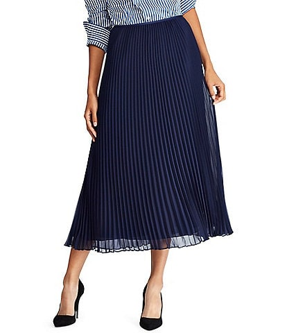 Polo Ralph Lauren Micro Pleated Georgette Midi Skirt