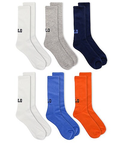 Polo Ralph Lauren POLO Logo Crew Socks 6-Pack
