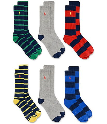 Polo Ralph Lauren Rugby Striped Crew Socks 6-Pack