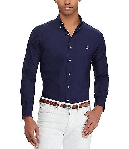 Polo Ralph Lauren Slim-Fit Solid Poplin Stretch Long-Sleeve Woven Shirt