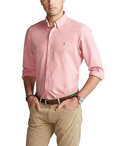 Polo Ralph Lauren Solid Garment-Dye Oxford Long-Sleeve Woven Shirt