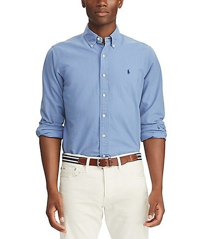 Polo Ralph Lauren Solid Garment-Dye Oxford Long-Sleeve Woven Shirt