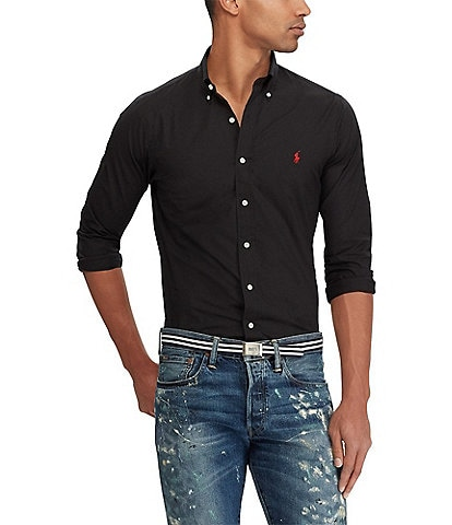 Polo Ralph Lauren Solid Stretch Poplin Long-Sleeve Woven Shirt
