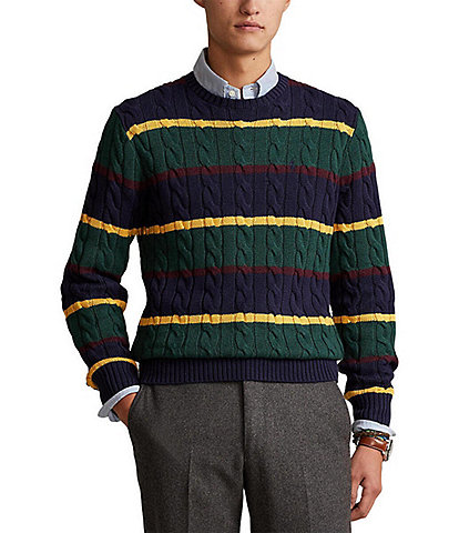 Polo Ralph Lauren Striped Cable-Knit Cotton Sweater