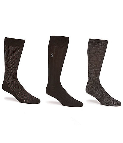 Polo Ralph Lauren Super Soft Diamond Dot Crew Dress Socks 3-Pack