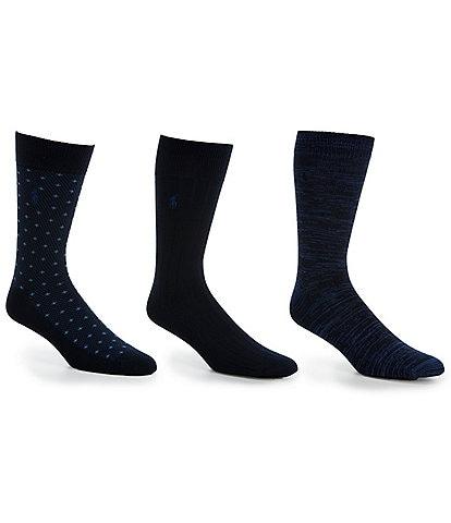 Polo Ralph Lauren Super Soft Diamond Dot Crew Dress Socks 3-Pack