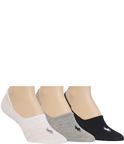 Polo Ralph Lauren Women's Flat Knit Sneaker Liner Socks 3-Pack