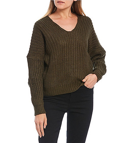 Poof Double Scoop Neck Long Sleeve Knit Sweater