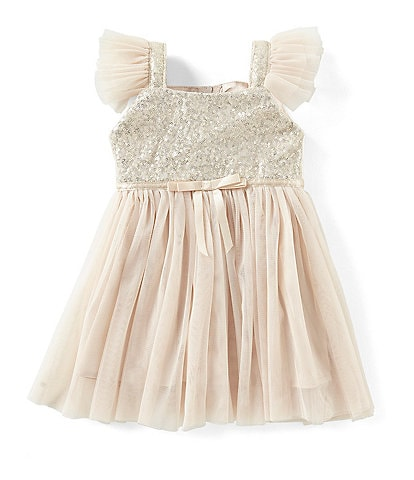 Popatu Baby Girls 12-24 Months Glitter Flutter-Sleeve Tulle Dress