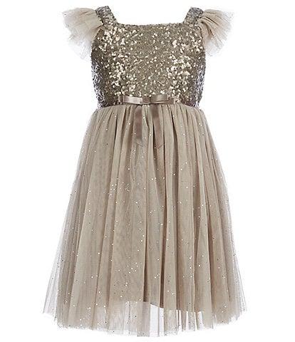 621643b11 Popatu Little Girls 2-6 Glitter Flutter-Sleeve Tulle Dress