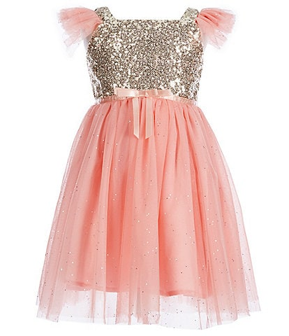Popatu Little Girls 2-6 Glitter Flutter-Sleeve Tulle Dress