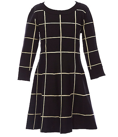 Poppies and Roses Big Girl 7-14 Lurex Window-Pane Fit-and-Flare Sweater Dress