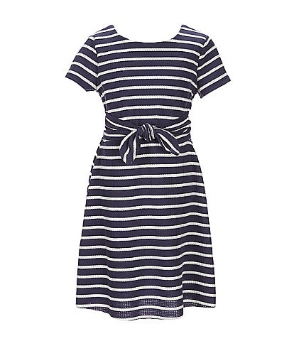 Poppies and Roses Big Girls 7-10 Tie-Front Stripe Tshirt Dress