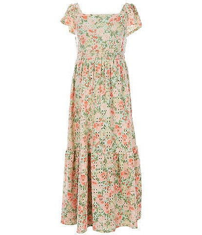 Poppies and Roses Big Girls 7-14 Floral Tiered Maxi Dress