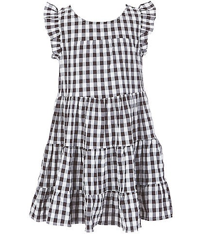 Poppies And Roses Big Girls 7-14 Flutter-Sleeve Gingham Tiered Dress