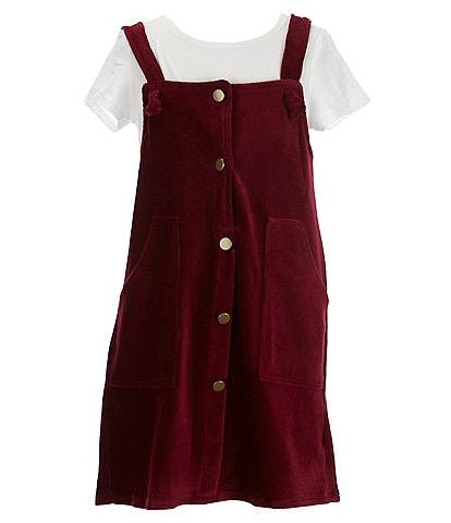 Poppies And Roses Big Girls 7-14 Short-Sleeve Tee & Velvet Jumper Set