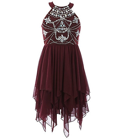 Poppies and Roses Big Girls 7-16 Beaded/Mesh Handkerchief Dress