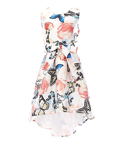 Poppies And Roses Big Girls 7-16 Butterfly/Floral-Printed Hi-Low Dress