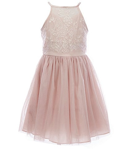 Poppies and Roses Big Girls 7-16 Caviar Lace/Mesh Popover Dress