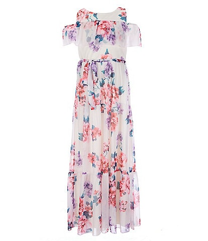 Poppies And Roses Big Girls 7-16 Cold-Shoulder Floral Maxi Dress