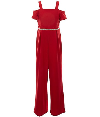 Poppies and Roses Big Girls 7-16 Cold-Shoulder Pleated Jumpsuit