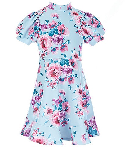 Poppies and Roses Big Girls 7-16 Floral Flounce Fit-And-Flare Dress