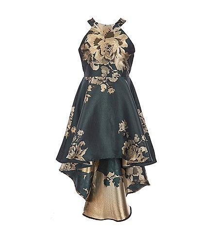 Poppies and Roses Big Girls 7-16 Floral Metallic Hi-Low Dress