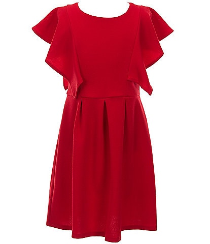 Poppies and Roses Big Girls 7-16 Flutter-Sleeve A-Line Dress