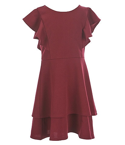 Poppies and Roses Big Girls 7-16 Flutter-Sleeve Double Hem Fit-And-Flare Dress