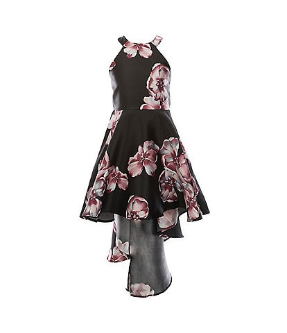 Poppies And Roses Big Girls 7-16 Halter Neck Floral Hi-Low Dress