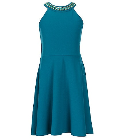 Poppies and Roses Big Girls 7-16 Jeweled Halter-Neck Fit-And-Flare Dress