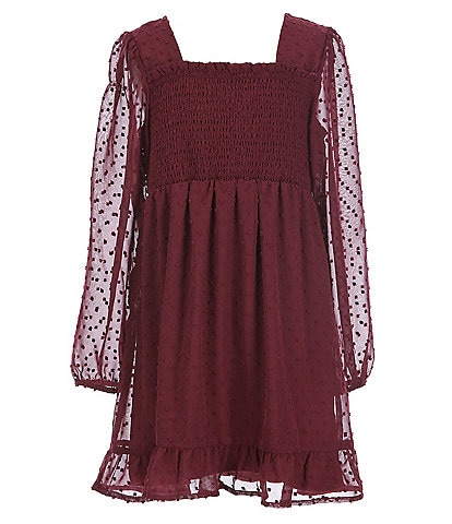Poppies and Roses Big Girls 7-16 Long Sleeve Clip Dot Dress