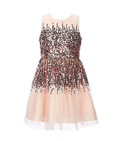 Poppies and Roses Big Girls 7-16 Ombre Sequin-Accented Fit-And-Flare Dress