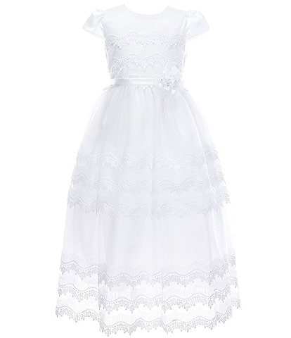 Poppies and Roses Big Girls 7-16 Point de Venise Lace-Trimmed Communion Dress