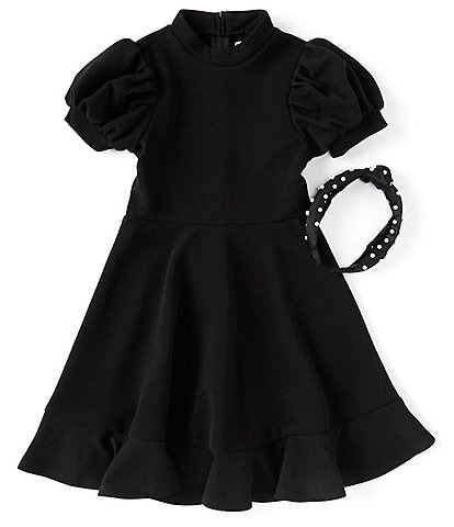 Poppies and Roses Big Girls 7-16 Puff Sleeve Fit-and-Flare Dress & Faux-Pearl Headband