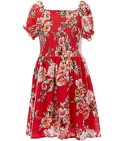 Poppies and Roses Big Girls 7-16 Puff Sleeve Smocked Floral A-Line Dress