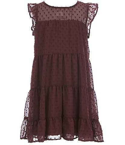 Poppies And Roses Big Girls 7-16 Ruffle Cap-Sleeve Swiss Dotted Tiered Babydoll Dress