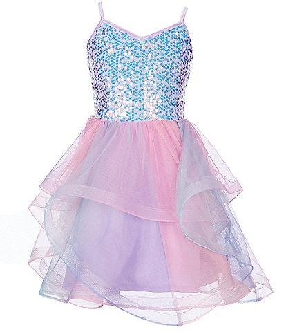 Poppies and Roses Big Girls 7-16 Sequin Bodice/Ombre Skirt Fit-And-Flare Dress