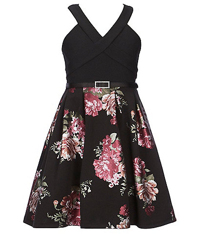 Poppies and Roses Big Girls 7-16 Solid/Floral Fit-And-Flare Dress