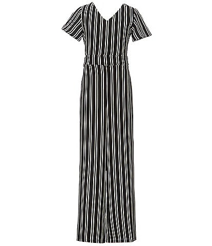 Poppies and Roses Big Girls 7-16 Stripe Short Sleeve Jumpsuit