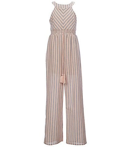 Poppies And Roses Big Girls 7-16 Striped Elastic-Waist Jumpsuit
