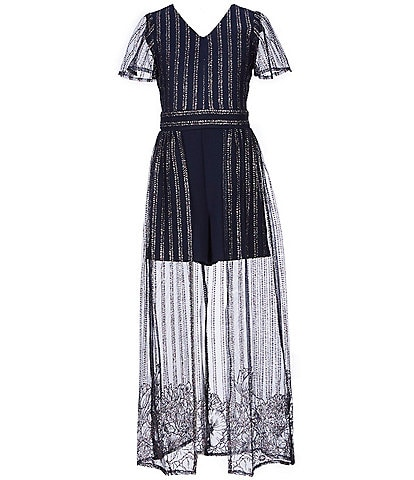 Poppies and Roses Big Girls 7-16 Striped Maxi Romper