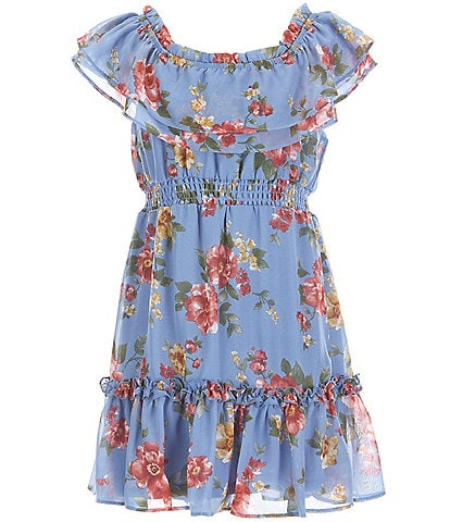 Poppies and Roses Birl Girls 7-16 Ruffle Off-The-Shoulder Floral Print Dress