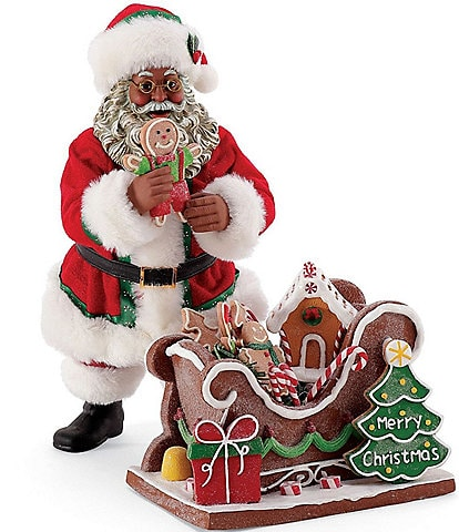 Possible Dreams African American 2021 Gingerbread Sleigh Santa Figurine Set