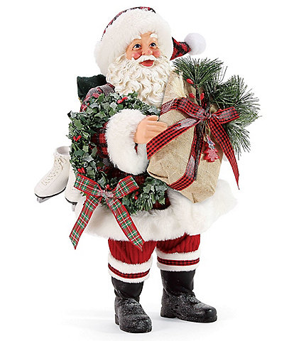 Possible Dreams Plaid Tidings Santa Figurine