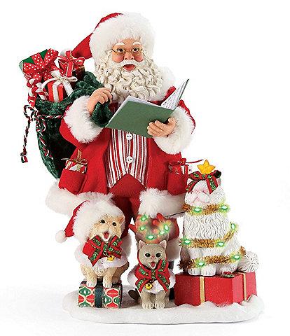 Possible Dreams Santa & His Pets Collection Lighted Kitten Carols Santa Figurine
