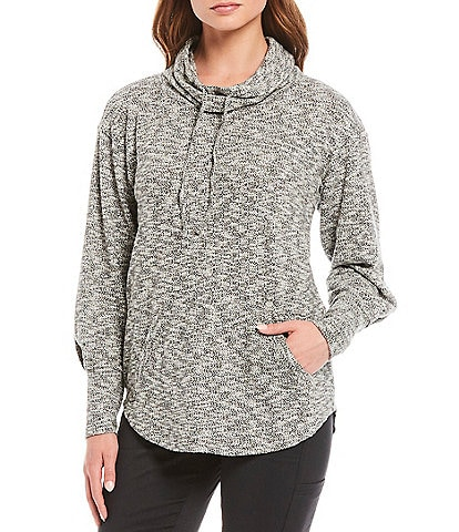 prAna Frieda Organic Cotton Blend Funnelneck Drawstring Long Sleeve Pullover Knit Tunic Top