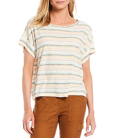prAna Vosky Stripe Knit Short Sleeve Crew Neck Relaxed Fit Top