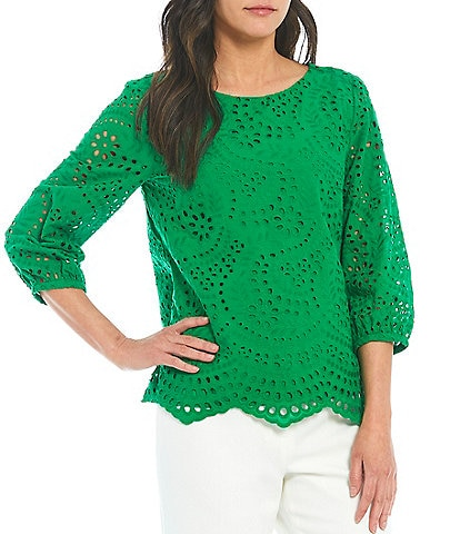 Preston & York Alexia Eyelet 3/4 Sleeve Woven Blouse